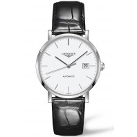 Longines - Elegant 39mm White & Steel Alligator strap,L49104122