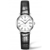 Longines - Elegant 25.5mm Roman numeral White & Steel Alligator strap, L43094112