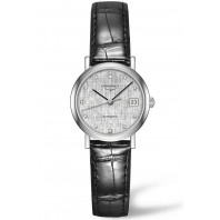 Longines - Elegant 25.5mm 12 Diamonds Silver & Steel Leather strap,L43094772