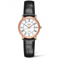 Longines - Elegant 27mm Roman numeral Rose gold & Alligator strap, L43788110