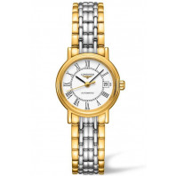 Longines Presence 25mm Roman numeral White & Gold PVD,L43212117