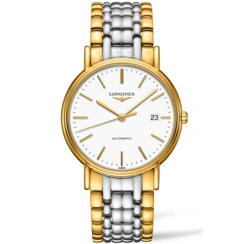 Longines Presence White & Bracelet with gold PVD Gent's Watch,L49212127