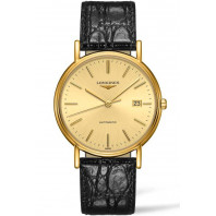 Longines Presence 38,5 Golden & Gold PVD Leather strap Gent's Watch,L49212322