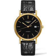 Longines Presence 38,5 Black & Gold PVD Leather strap Gent's Watch,L49212522