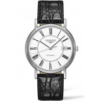 Longines Presence 38,5mm Roman numerals White & Steel Leather strap ,L49214112