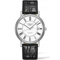 Longines Presence 38,5mm Roman numerals White & Steel Leather strap ,L49214112