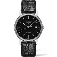Longines Presence 38.5mm Black & Steel Leather strap, L49214522