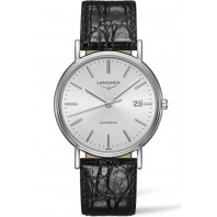 Longines Presence 38.5mm Silver & Steel Leather strap, L49214722