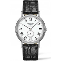 Longines Presence 38,5mm Small seconds Roman numerals White & Steel Leather strap,L48054112