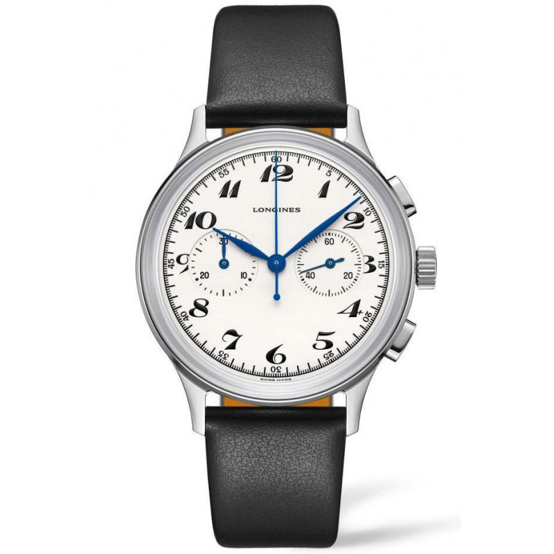 Longines - Heritage Classic 40mm  Silver Chronograph Steel & Leather L28274730