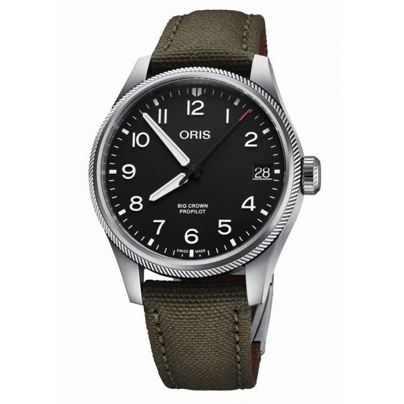 Oris - Big Crown ProPilot Date 41 mm Svart & Oliver grön textilband 75177614164