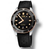 Oris Divers Sixty-Five Svart & gummiband  Stål & Brons,73377074354
