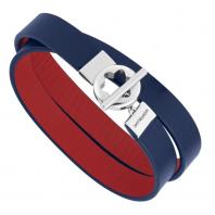 Montblanc - Double-faced läder armband med rostfritt stål och snowcap closing, 12375058
