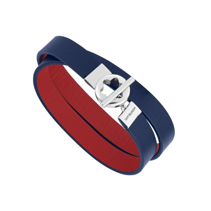 Montblanc - Double-faced leather bracelet with stainless steel snowcap closing,12375058