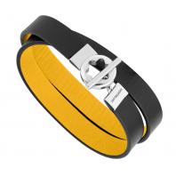 Montblanc - Double-faced läder armband med rostfritt stål och snowcap closing, 12375158
