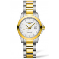 Longines - Conquest 29.5mm Quartz Mother-of-pearl Steel & Gold pvd 11 diamonds,L33763877