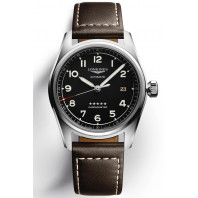 Longines Spirit - 40mm Black dial Steel & XL Leather strap, L38104533