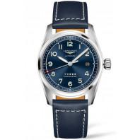 Longines Spirit - 40mm Blue dial Steel & Leather strap,  L38104930