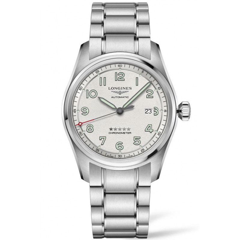 Longines Spirit - 42mm White dial & Steel bracelet with Two additional leather straps,L38114739