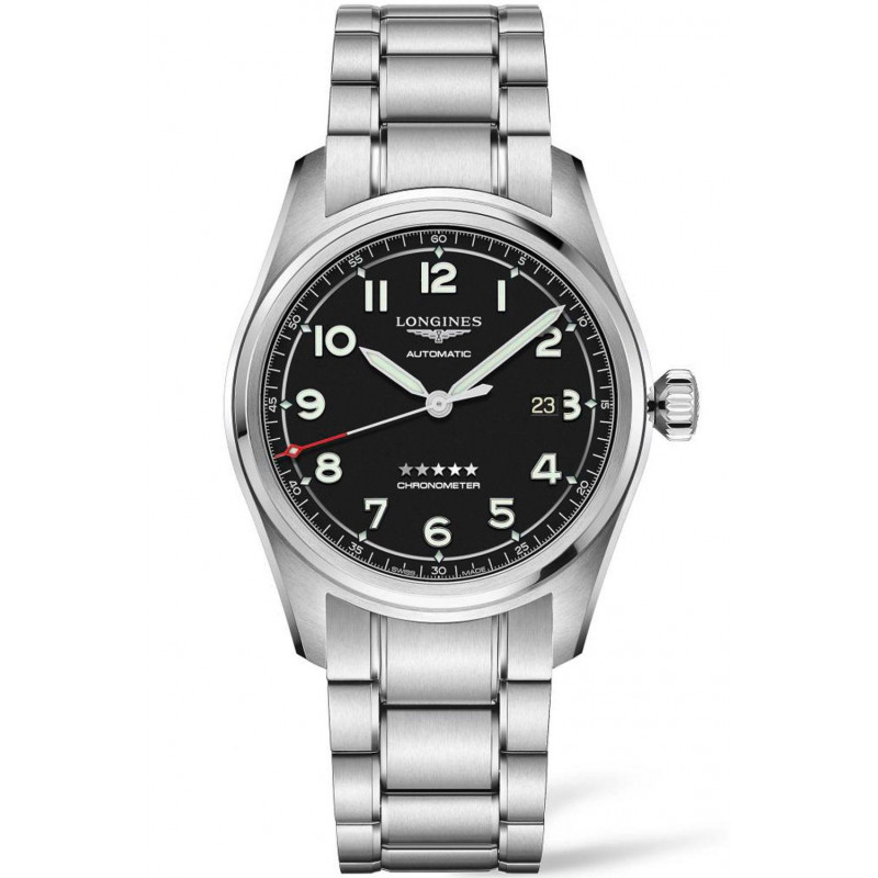 Longines Spirit - 40mm Black dial & Steel bracelet with Two additional leather starps, L38114539