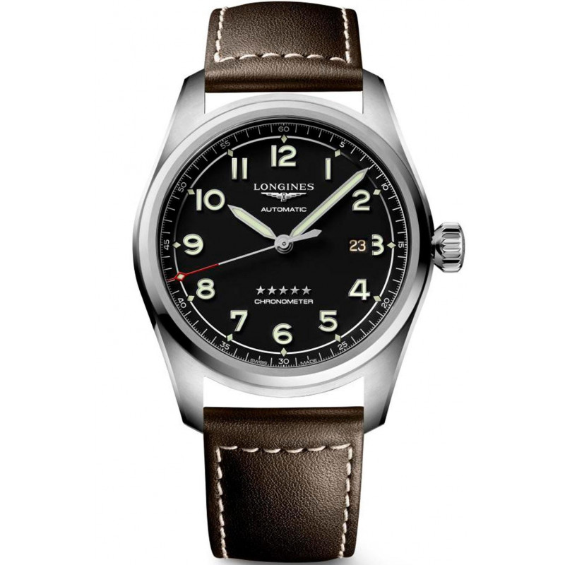 Longines Spirit - 42mm Black dial Steel & Leather strap, L38114530