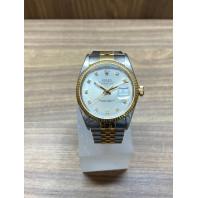 PRE-OWNED Rolex Datejust 36mm Vit Stål & Guld Diamanter,16013