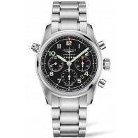 Longines Spirit - 42mm Chronograph black dial & steel bracelet,L38204536