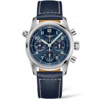 Longines Spirit - 42mm Kronograf blå urtavla & Läderband,L38204930