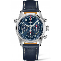 Longines Spirit - 42mm Chronograph blue dial & Leather strap, L38204933