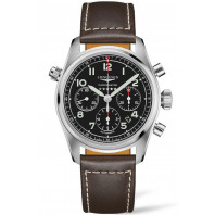 Longines Spirit - 42mm Chronograph black dial & XL Leather strap, L38204533