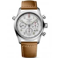 Longines Spirit - 42mm Kronograf Vit urtavla & Läderband,L38204732