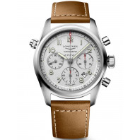 Longines Spirit - 42mm Chronograph White dial & XL Leather strap, L38204734
