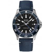 MIDO Ocean Star GMT 44mm Blå & Textilband,M0266291705100