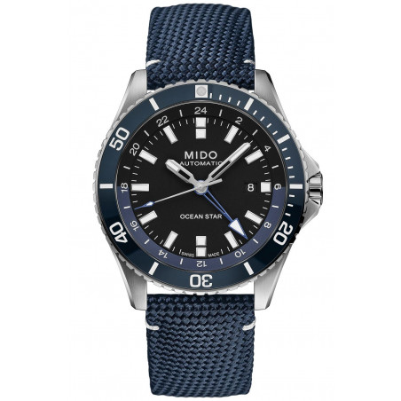 MIDO Ocean Star GMT 44mm Blue & Fabric strap, Rubber strap, Gent's Watch,M0266291705100