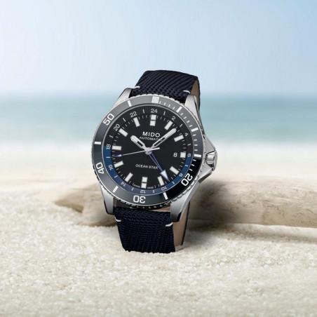 MIDO Ocean Star GMT 44mm Blue & Fabric strap,M0266291705100