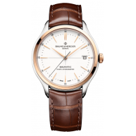 Baume & Mercier Clifton Baumatic Vit & Läderband Rose Guld PVD-M0A10519