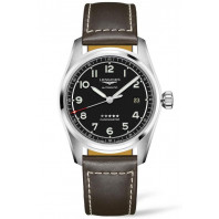 Longines Spirit - 40mm Black dial Steel & Leather strap, L38104530