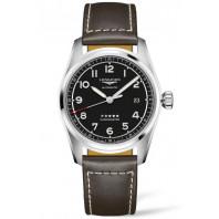 Longines Spirit - 40mm Black dial Steel & Leather strap, L38104530